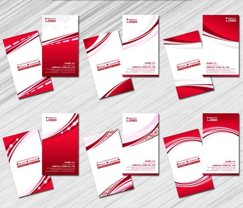 经典红色名片卡片设计PSD素材