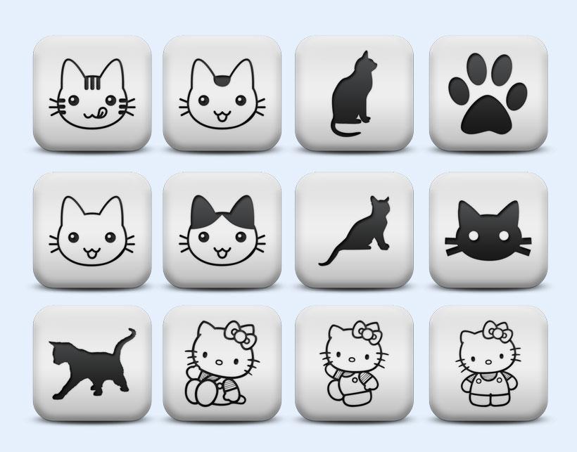 猫咪系统猫咪主题可爱卡通方形图标系统