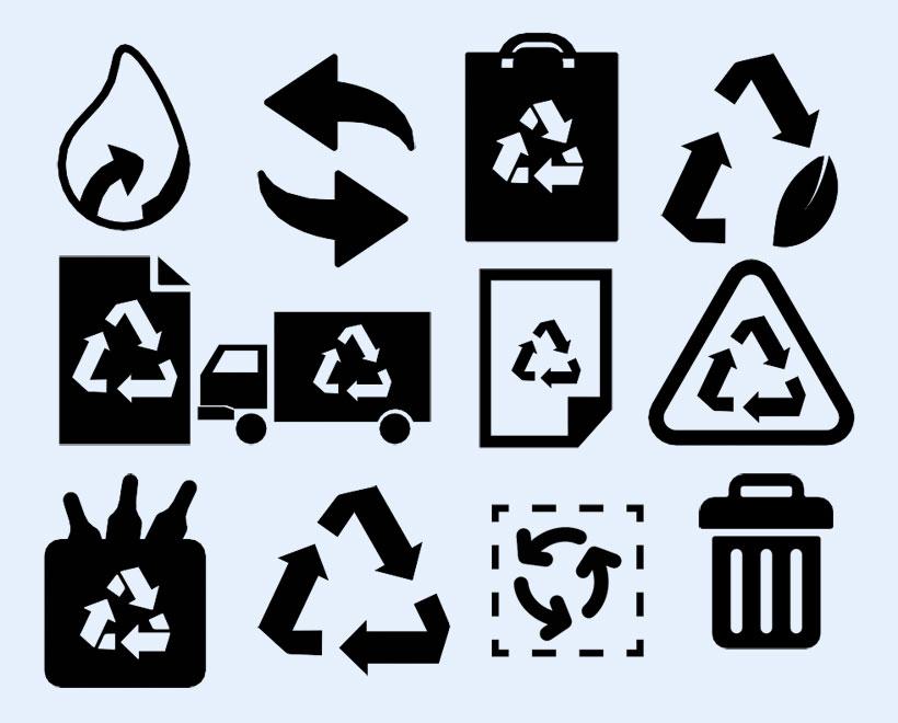 垃圾袋 垃圾桶 黑色 线条风格 系统设置 系统图标 png图标 免费素材
