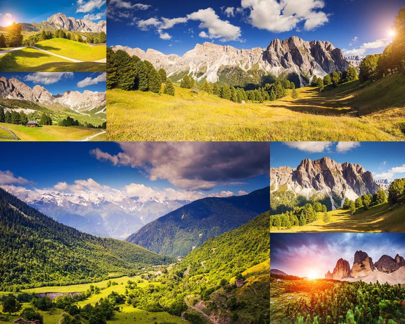 自然风景山峰与草原高清图片