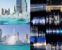 城市建筑喷池摄影高清图片