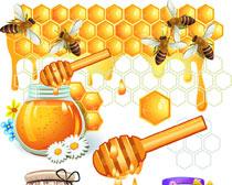 蜂蜜相关卡通图矢量素材
