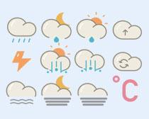 卡通風格的天氣預報PNG圖標