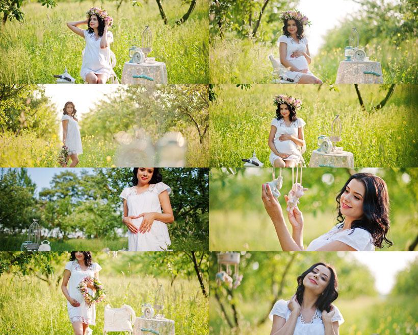 孕妇野外风景写真摄影高清图片