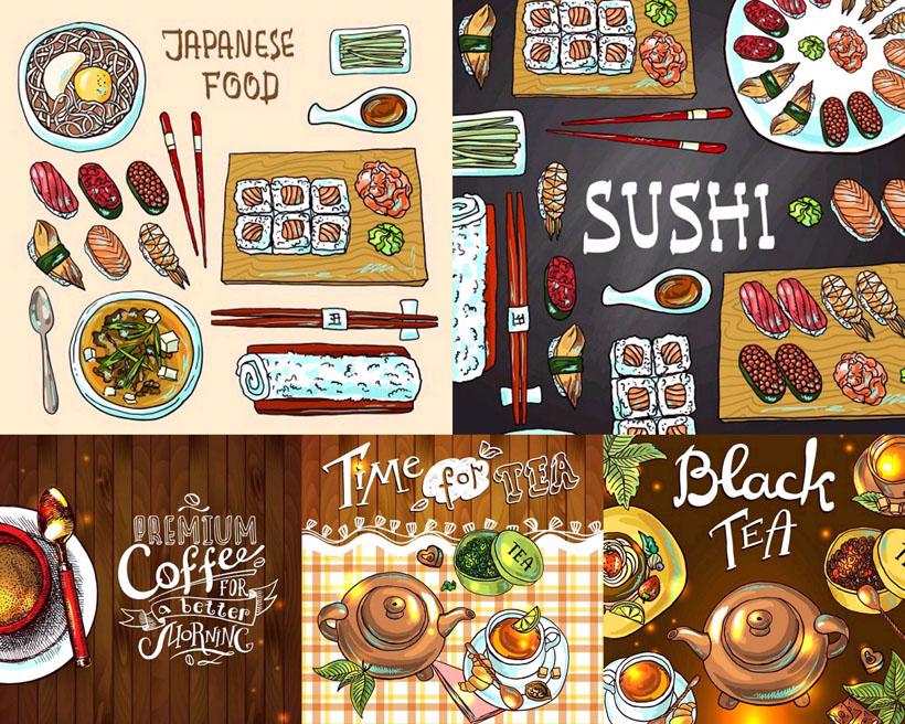 寿司食物手绘画矢量素材