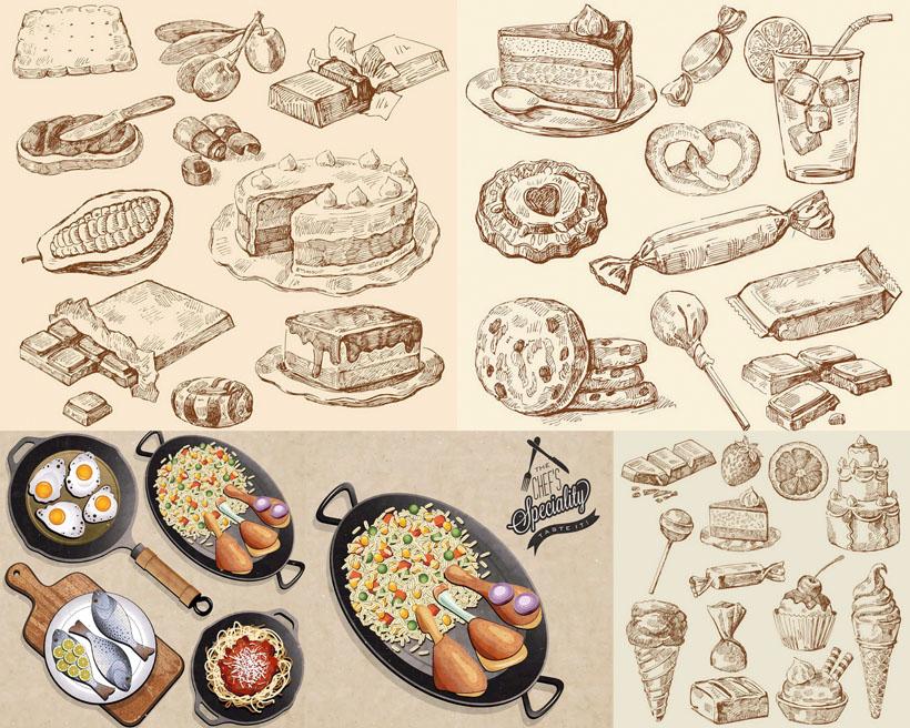 糖果面包蛋炒饭手绘矢量素材