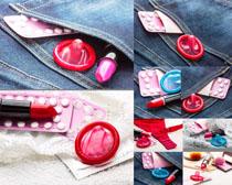 口红避孕套药物摄影高清图片