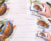 盘子里的小鱼摄影高清图片