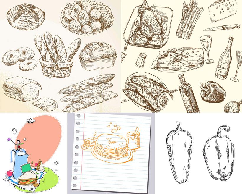 手绘画面包食物矢量素材