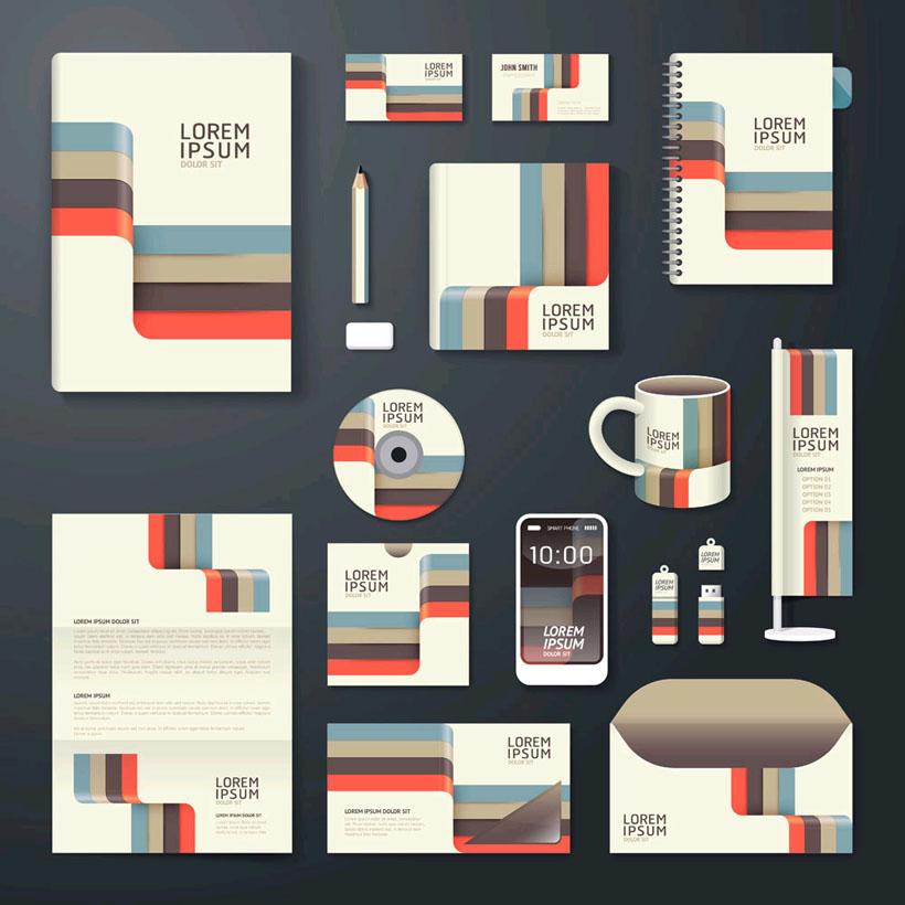 创意色彩公司vi设计矢量素材