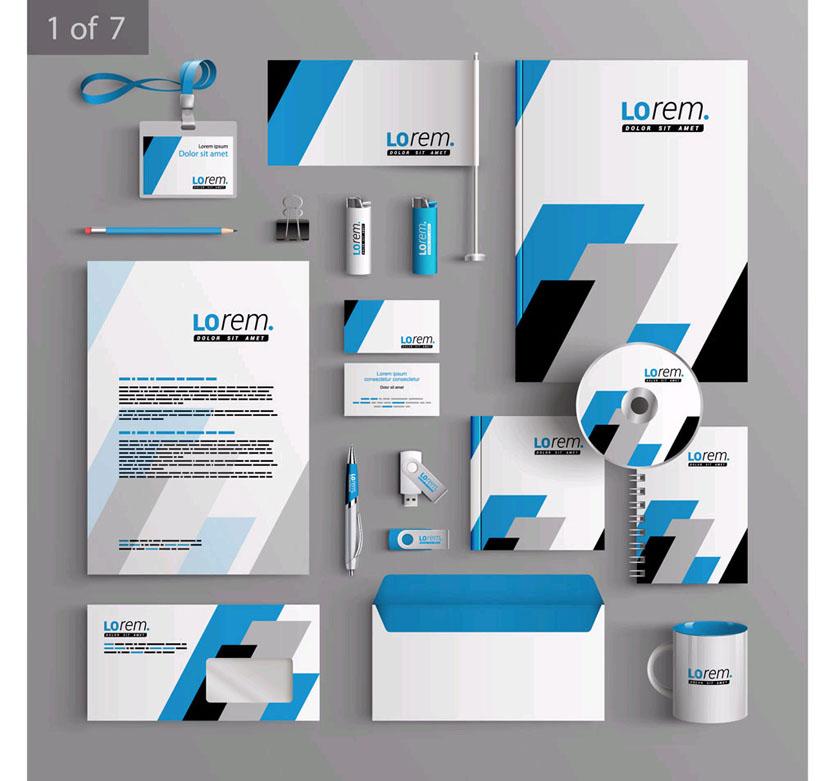 黑蓝企业标识vi设计矢量素材