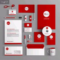 红色VI标识设计矢量素材