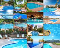 游泳水池建筑摄影高清图片