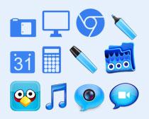 蓝色的视频图标PNG图标