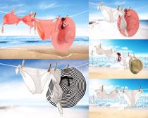 海边沙滩帽子与内衣摄影高清图片