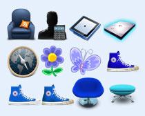 蓝颜色的蝴蝶PNG图标