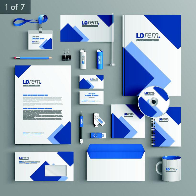 蓝色风格企业vi设计矢量素材