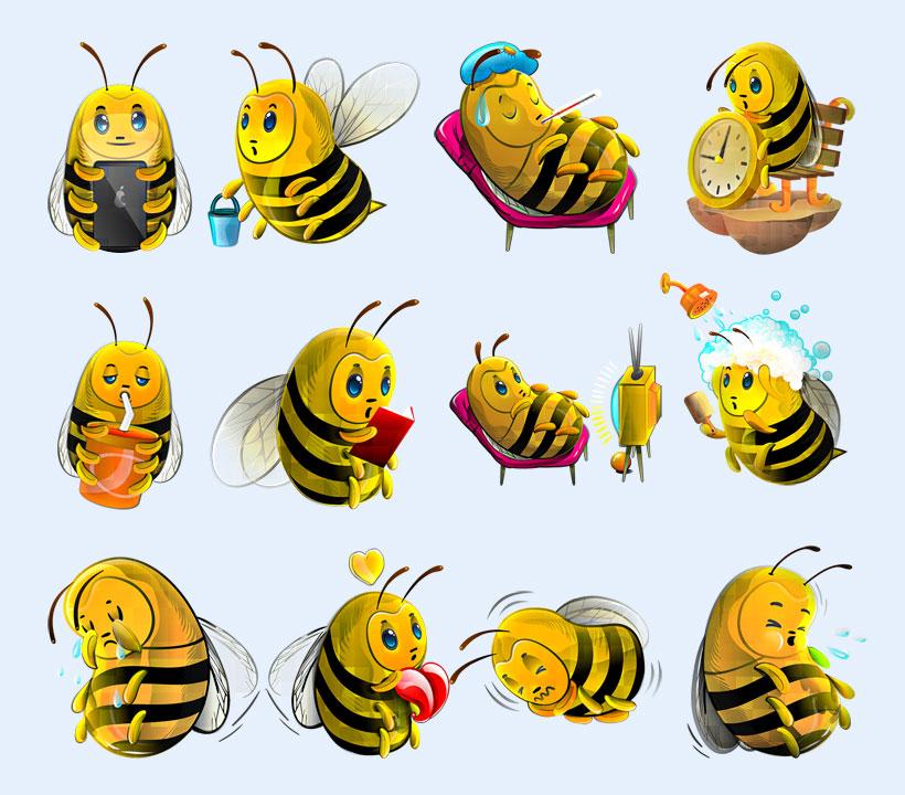 采蜜中的蜜蜂png图标