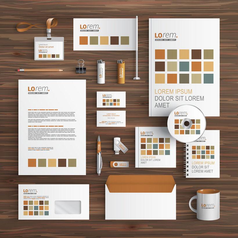 淡色调公司vi设计标识矢量素材
