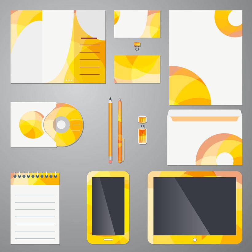 黄色工作标识vi设计矢量素材