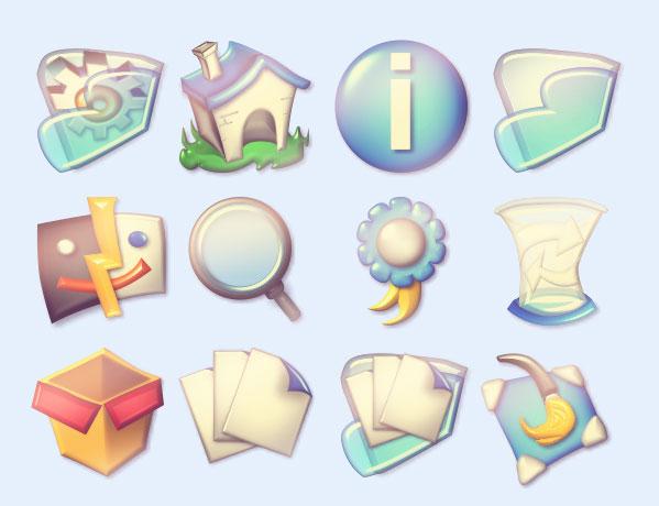 图标素材 创意图标 齿轮 数字 复古 计算机 画板 关闭 信纸 箱子 箭头