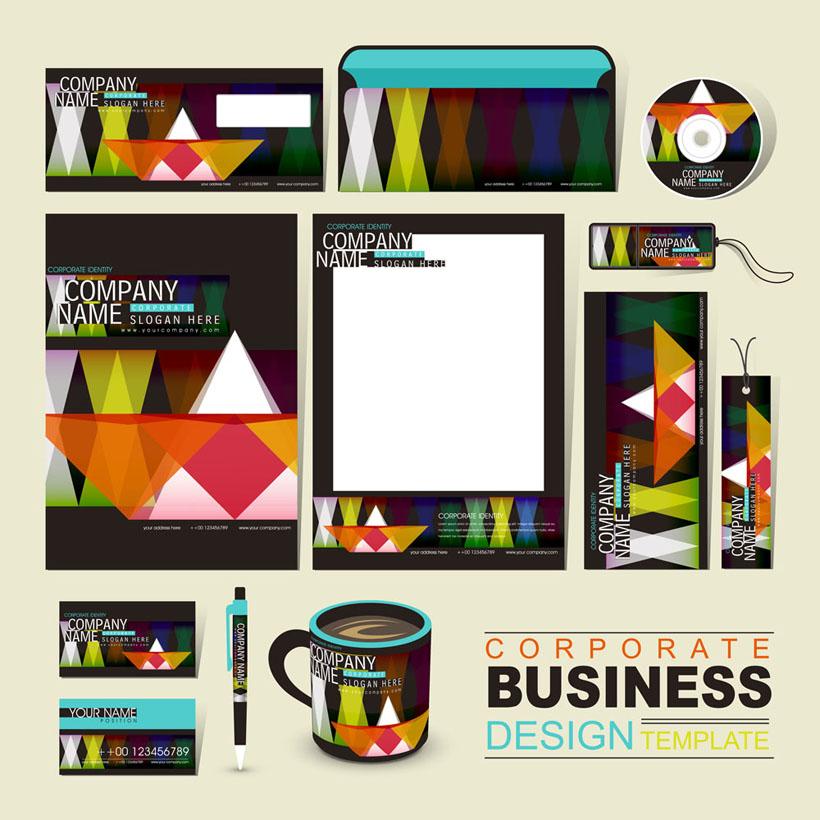 色彩图案风格vi设计矢量素材
