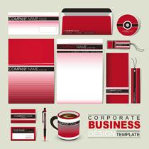 条纹红VI设计矢量素材