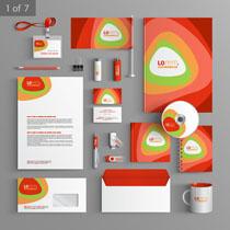 红色创意风VI设计矢量素材