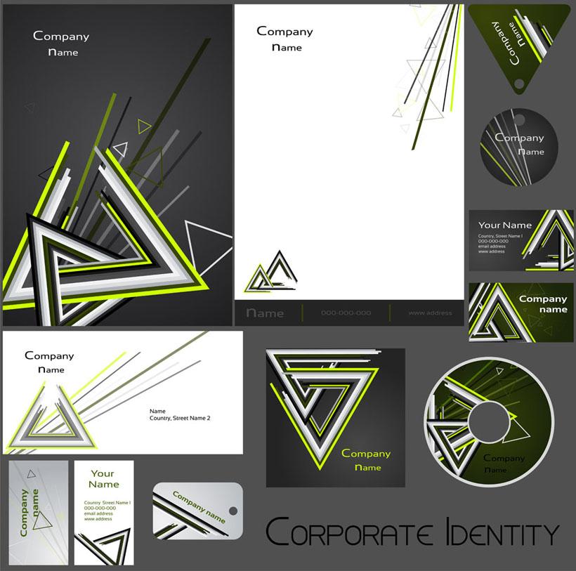爱图首页 矢量素材 标识标志 vi 三角形 设计 风格 模板 标识 名片