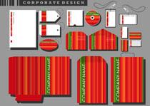 红色条纹VI设计矢量素材