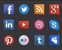 社交网络按钮设计PSD素材