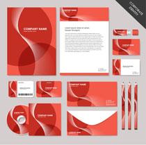 红色方案VI标识设计矢量素材