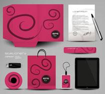 创意休闲红VI设计矢量素材