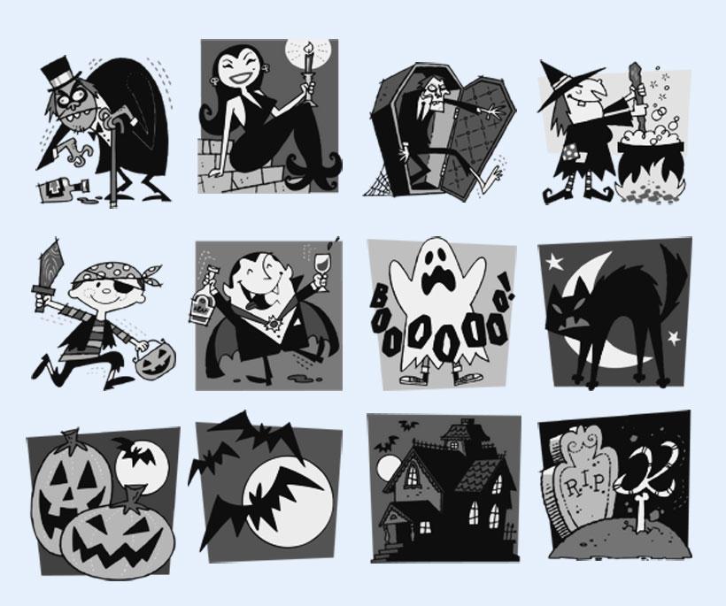 黑白风格的女巫图标png图标