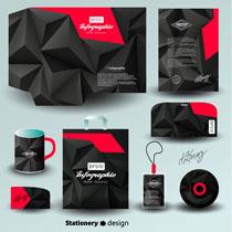 黑红效果VI标识设计矢量素材