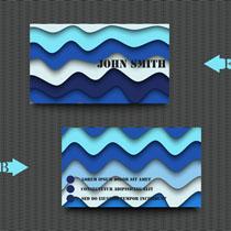 波纹背景名片矢量素材