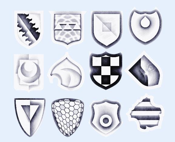 黑白风格的盾牌png图标