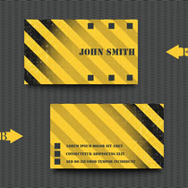 黄色条纹名片背景矢量素材