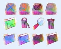 水彩画风格文件夹PNG图标