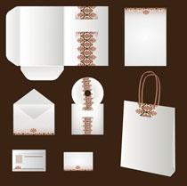白色花纹卡片包装矢量素材