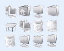 灰白色的回收站PNG图标