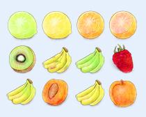 彩绘风格的猕猴桃PNG图标