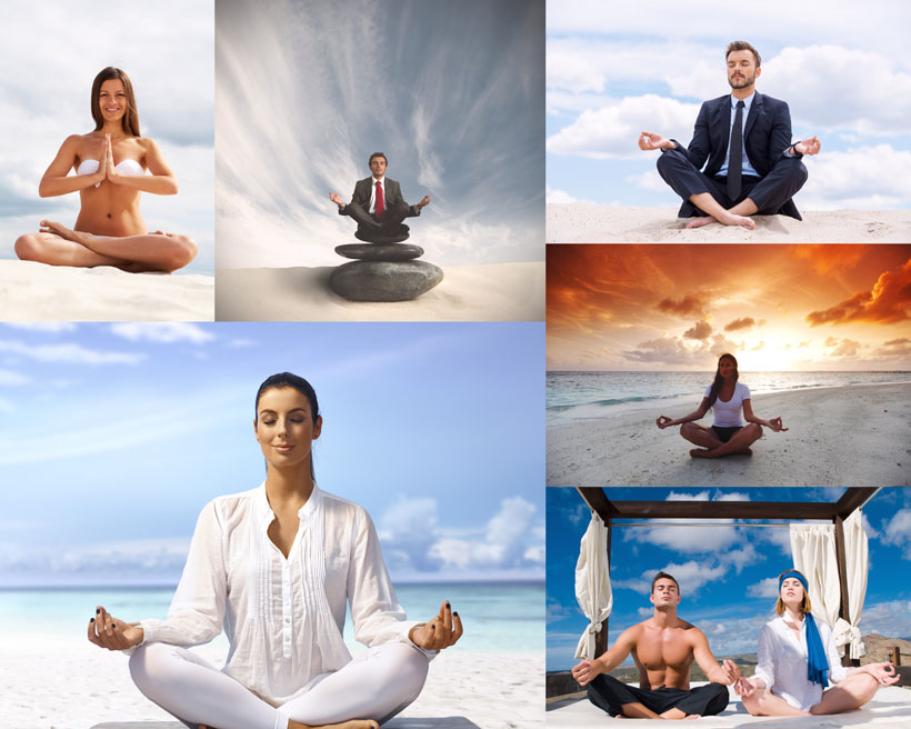 静心打坐的职业人物摄影高清图片