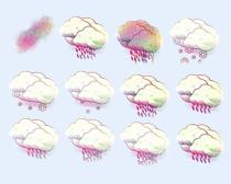 紫色的天氣預報圖標PNG圖標