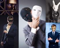 面具男人摄影高清图片