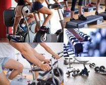 健身房单车运动人物高清图片