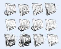 黑白色的文件夹图标PNG图标