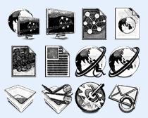黑白色风格显示器PNG图标
