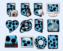 蓝色圆点文件夹PNG图标