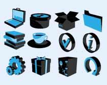 蓝黑色的文件夹PNG图标